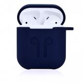 Чехол силиконовый для AirPods с карабином, темно-синий