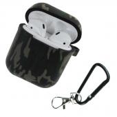 Чехол силиконовый для AirPods Protector с карабином, хаки