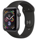 Умные часы Apple Watch Series 4, 44 мм, корпус из алюминия «серый космос», спортивный ремешок черный
