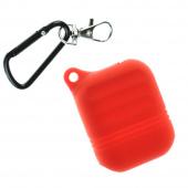 Чехол силиконовый для AirPods Protector с карабином, красный