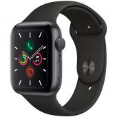 Часы Apple Watch Series 5 44мм серого цвета+спортивный ремешок черный
