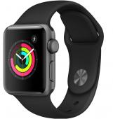 Умные часы Apple Watch S3, 42mm корпус из алюминия цвета «серый космос», спортивный ремешок чёрный