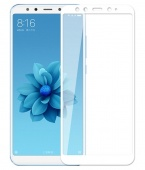 Стекло защитное для Xiaomi Mi A2/6X 3D, рамка белая