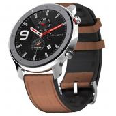 Умные часы Amazfit GTR 47mm stainless steel case, leather strap