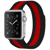 Браслет миланский для Apple Watch 42/44мм сетчатый, черно-красный