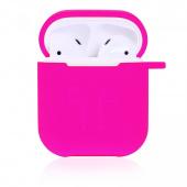 Чехол силиконовый для AirPods с карабином, розовый