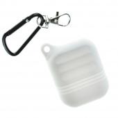 Чехол силиконовый для AirPods Protector с карабином, белый