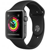 Умные часы Apple Watch Series 3, 42 корпус из алюминия серый космос, спортивный черный ремешок