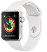 Apple Watch Series 3, 38 мм, корпус из серебристого алюминия, спортивный ремешок белый