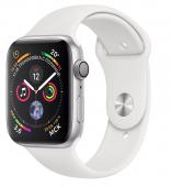Умные часы Apple Watch Series 4, 44 мм, корпус из серебристого алюминия+ремешок «белый»