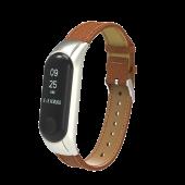 Ремешок для Xiaomi Mi Band 3, кожаный, коричневый