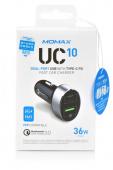 Автомобильное зарядное устройство Momax UC10 36W Dual USB Fast Charge QC 3.0, черный