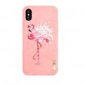 Чехол для iPhone X/XS Nimmy с вышивкой, фламинго