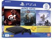 Игровая приставка Sony Playstation 4 Slim 1TB + 3 игры (DET + TLOU + 3M) , черный