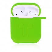 Чехол силиконовый для AirPods с карабином, зеленый