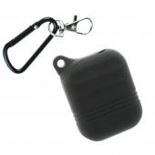 Чехол силиконовый для AirPods Protector с карабином, черный