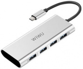 Адаптер Wiwu Apollo USB-C 4-1 Hub (A440), серебристый