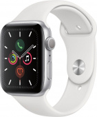 Apple Watch Series 5, 44 мм, корпус из серебристого алюминия, спортивный ремешок белый